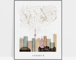 Toronto map skyline poster watercolor 1