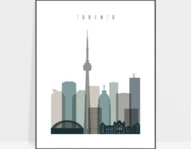 Toronto art print skyline earth tones 4