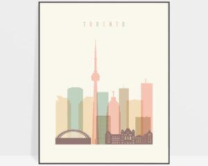 Toronto skyline art pastel cream