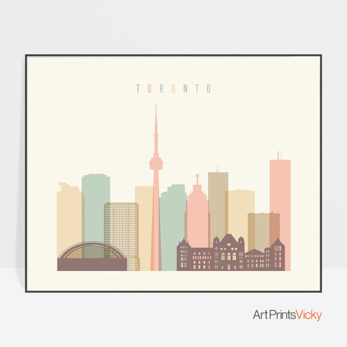 Toronto skyline print pastel cream landscape