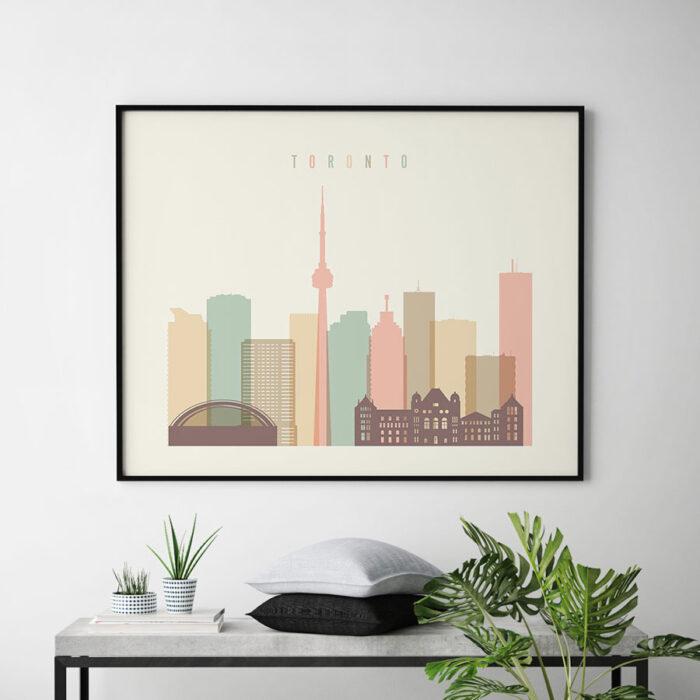 Toronto skyline print pastel cream landscape second