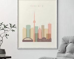 Toronto skyline art pastel cream-second