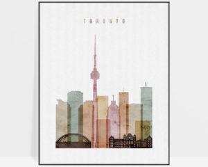 Toronto skyline poster watercolor 1