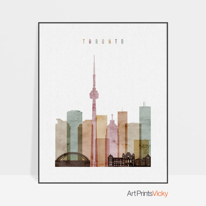Toronto skyline poster watercolor 1