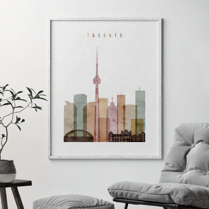 Toronto skyline poster watercolor 1 second