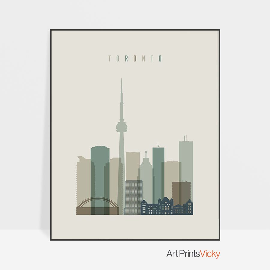 Toronto print skyline earth tones 1