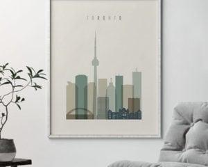 Toronto print skyline earth tones 1 second