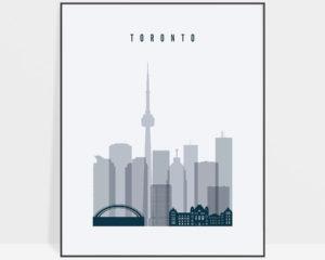 Toronto skyline poster grey blue
