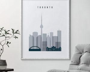 Toronto skyline poster grey blue second