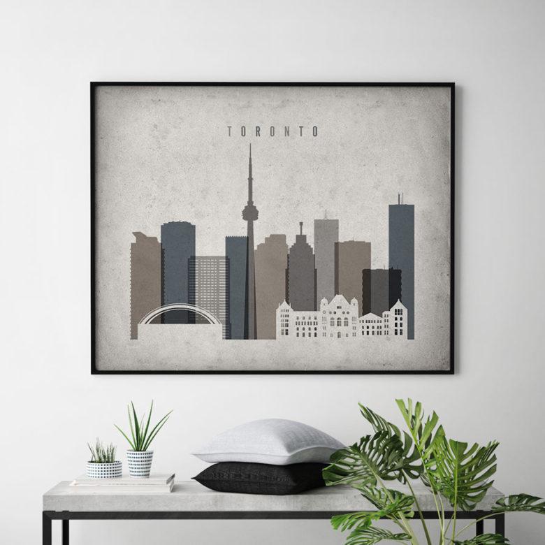 Toronto art print landscape retro second