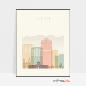 Tucson art print skyline pastel cream