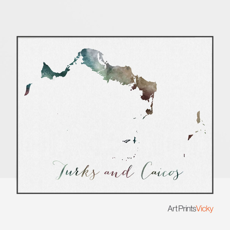 Turks and Caicos map poster