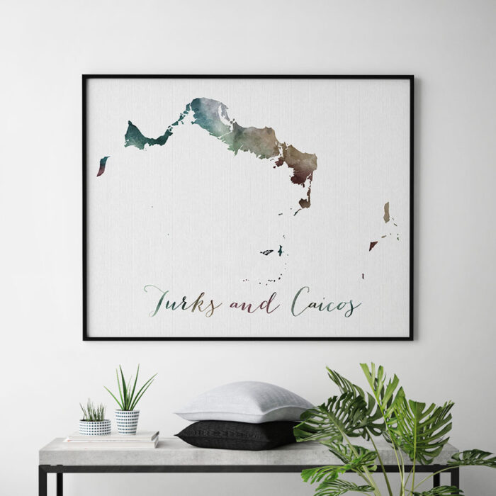 Turks and Caicos map poster second
