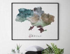 Ukraine map poster second