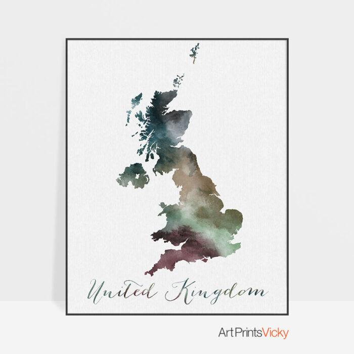 United Kingdom map print