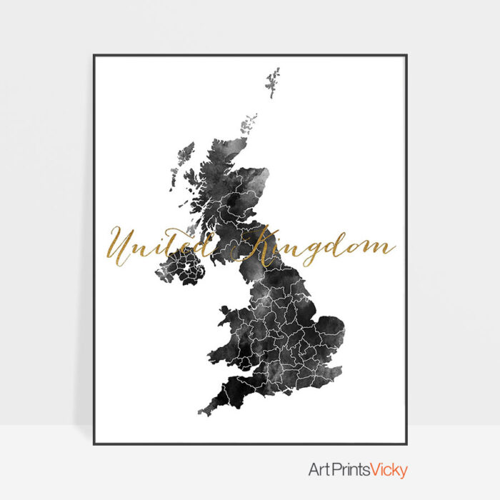 United Kingdom map black and white poster