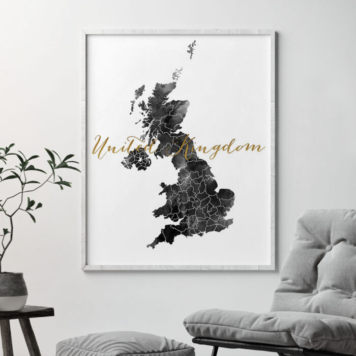 United Kingdom map black and white poster second