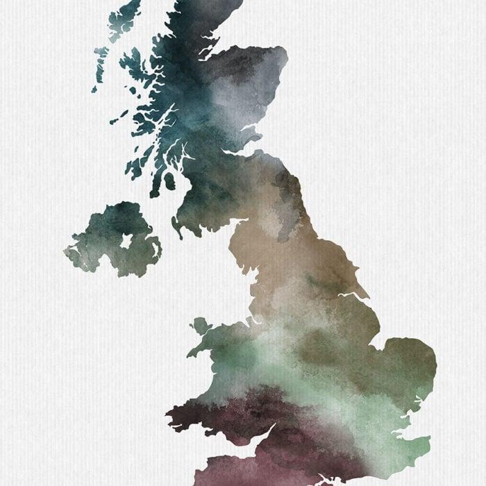 United Kingdom map print detail