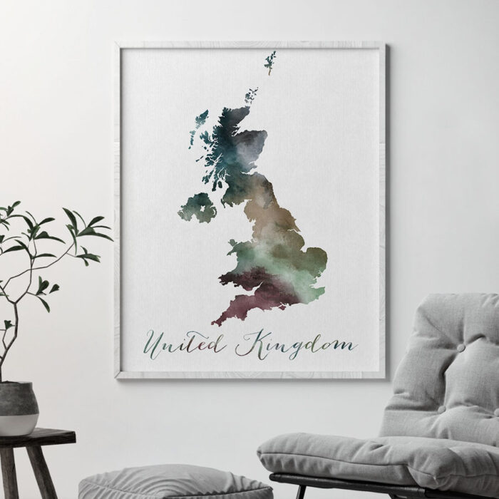 United Kingdom map print second
