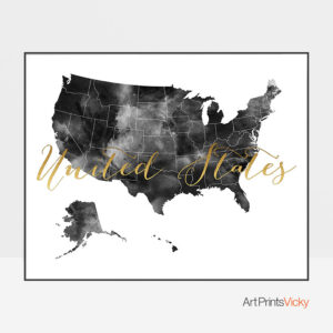 United States map black and white poster