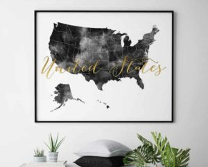 United States map black and white poster second