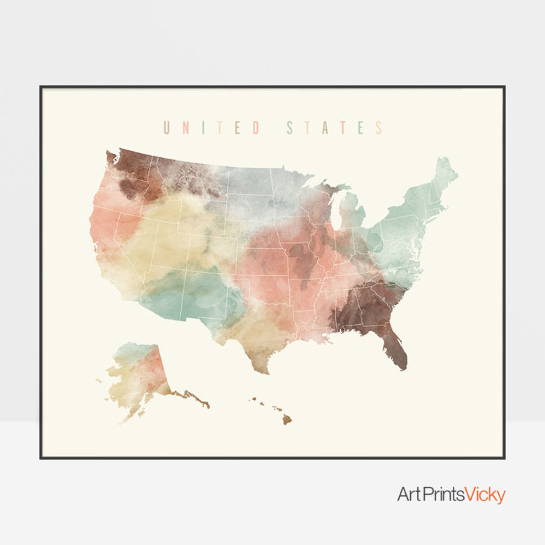 United States watercolor map print pastel