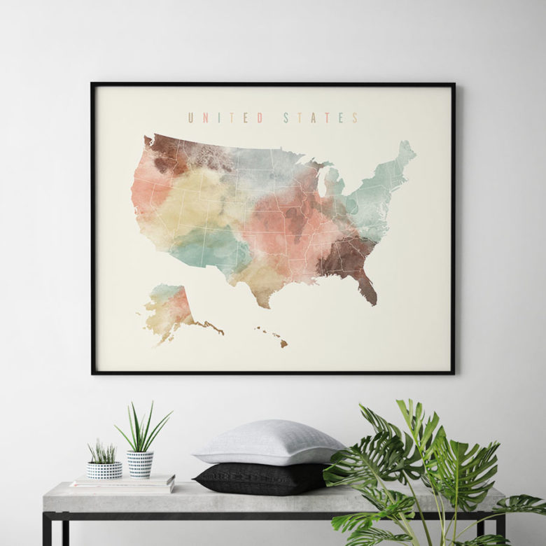 United States watercolor map print pastel second