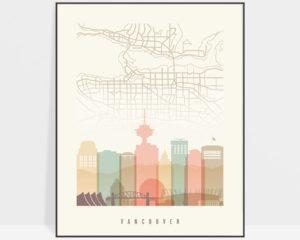 Vancouver map print poster pastel cream