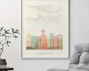 Vancouver map print poster pastel cream second