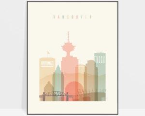 Vancouver art print skyline pastel cream