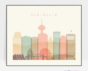 Vancouver skyline print pastel cream landscape