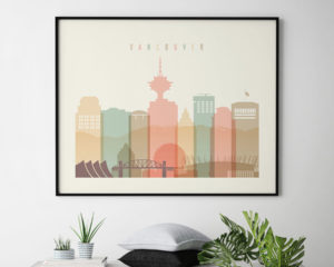 Vancouver skyline print pastel cream landscape second