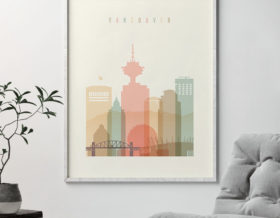 Vancouver art print skyline pastel cream second