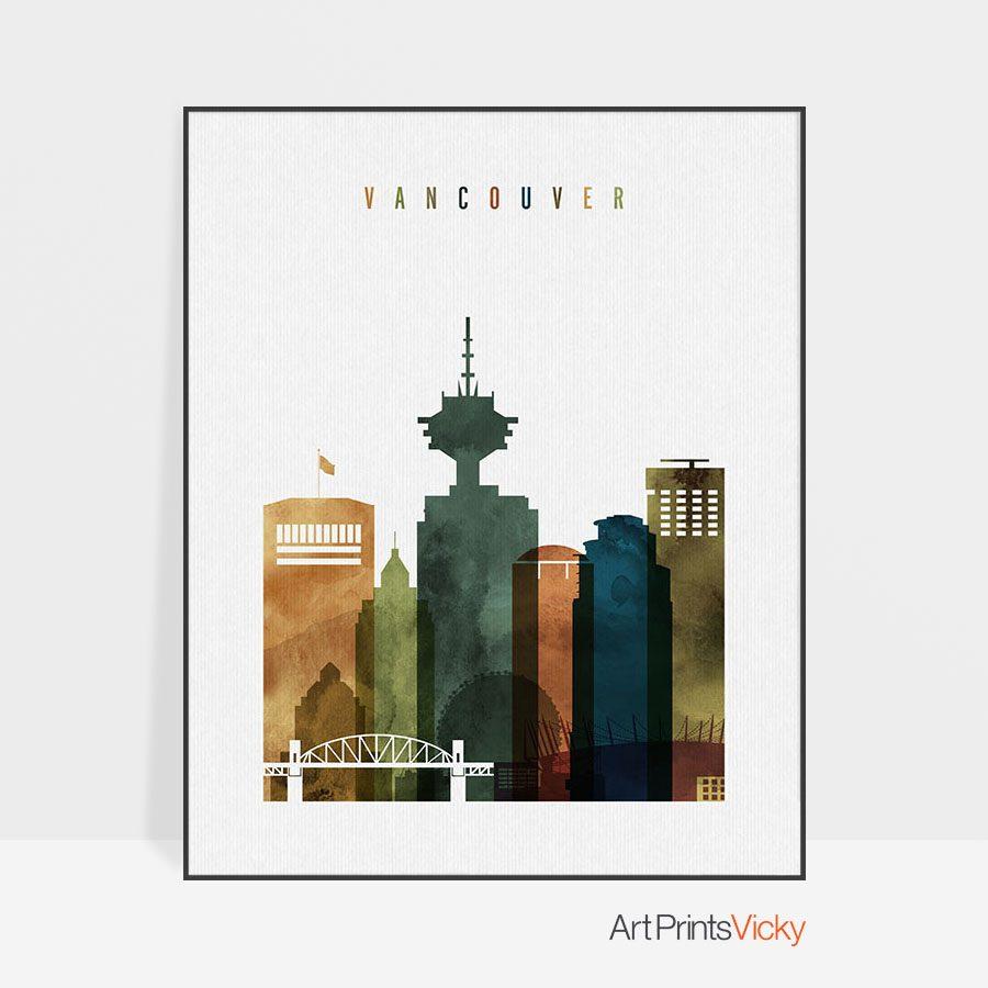 Vancouver skyline art watercolor 3
