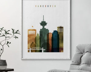 Vancouver skyline art watercolor 3 second