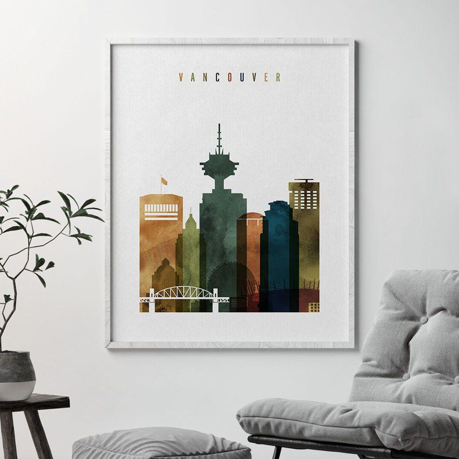 Vancouver skyline art watercolor 3 second