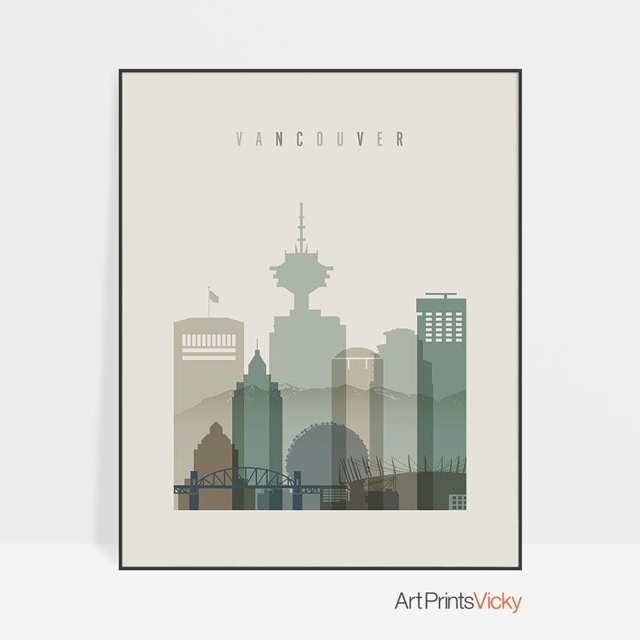Vancouver print skyline earth tones 1