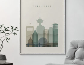 Vancouver print skyline earth tones 1 second