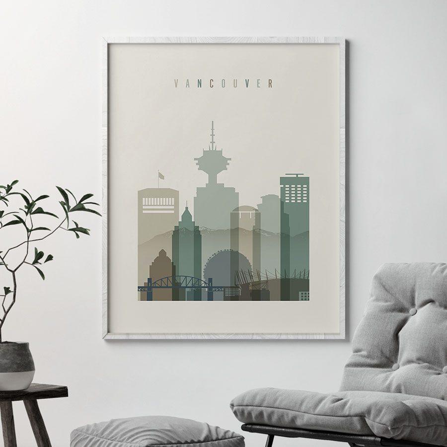 Vancouver print skyline earth tones 1 second