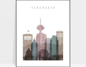 Vancouver skyline poster distressed 1