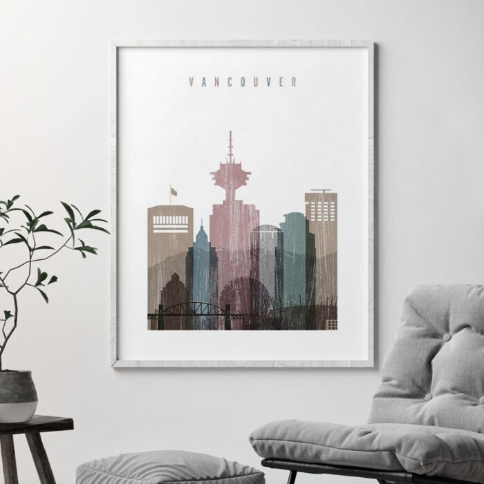 Vancouver skyline poster distressed 1 second