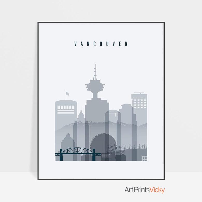 Vancouver skyline poster grey blue