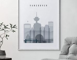Vancouver skyline poster grey blue second