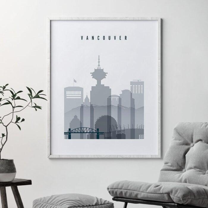 Vancouver skyline poster grey blue second