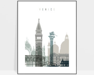 Venice art print skyline earth tones 4