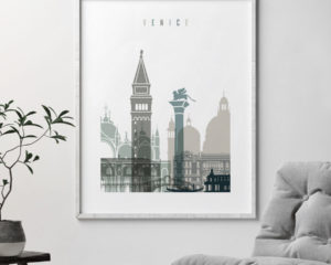 Venice art print skyline earth tones 4 second