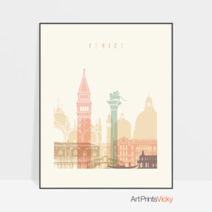 Venice Art Print Skyline Pastel Cream