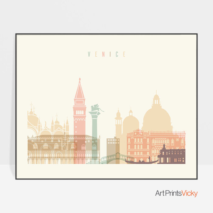 Venice art print skyline pastel cream landscape