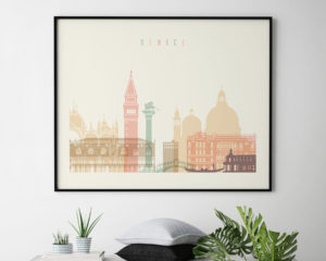 Venice art print skyline pastel cream landscape second