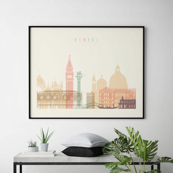 Venice art print skyline pastel cream landscape second